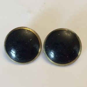 Vintage round black with gold edging earrings